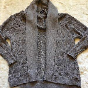 Tildon gray cozy open woven cardigan